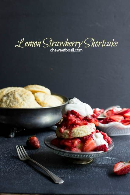 Shortcakes with a burst of lemon flavor, ripe strawberries and fresh whipped cream