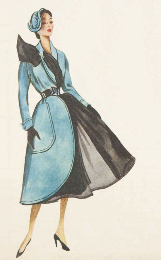 Chic blue and black 1950s Jacques Fath coat. #vintage #1950s #fashion #illustrations