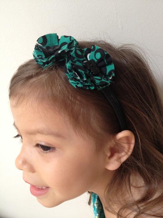 My handmade fabric flower headbands