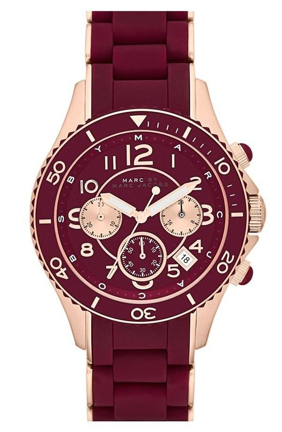 It's time. MARC BY MARC JACOBS Maroon & Rose Gold Watch