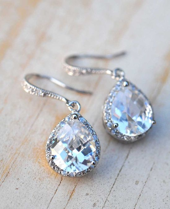 Bridal jewelry vintage earrings Wedding jewelry summer bride estate style bridal earrings sterling silver. $43.00, via Etsy.