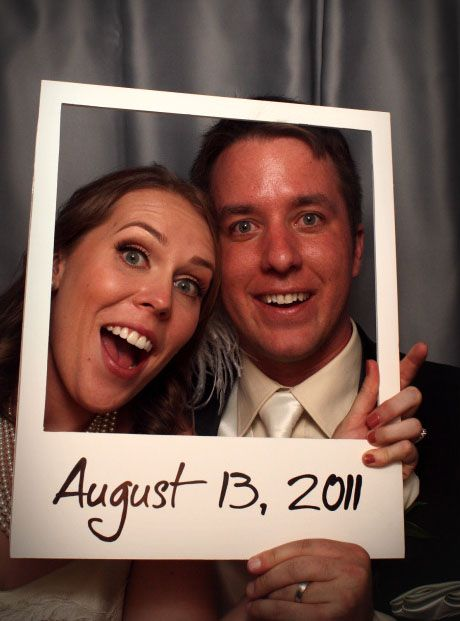 "Polaroid Photo Booth with the wedding date at the bottom of the ""photo!"" - cute save the date!"