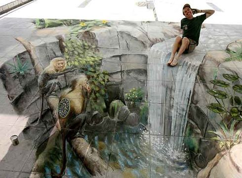 #3D #chalk #waterfall