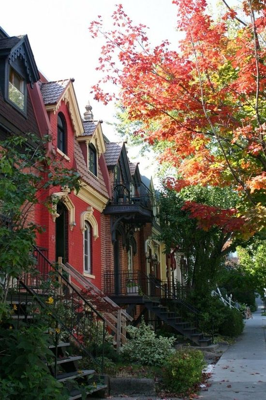 Old fashioned houses in autumn.