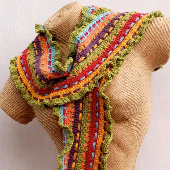 Woven Colour Stripe Crochet Scarf