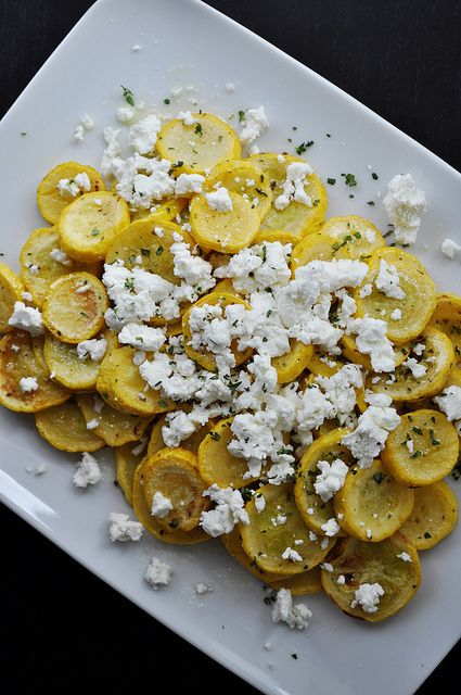 Roasted Summer Squash w/ Goat Cheese and Thyme