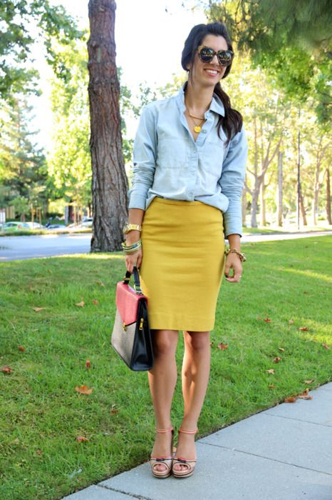 chambray shirt and a yellow pencil skirt