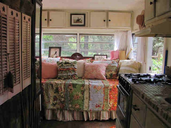 vintage travel trailer interior