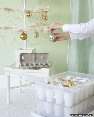 Awesome way to store and organize ornaments! Paper cups glued to a flat piece of cardboard. Genius!