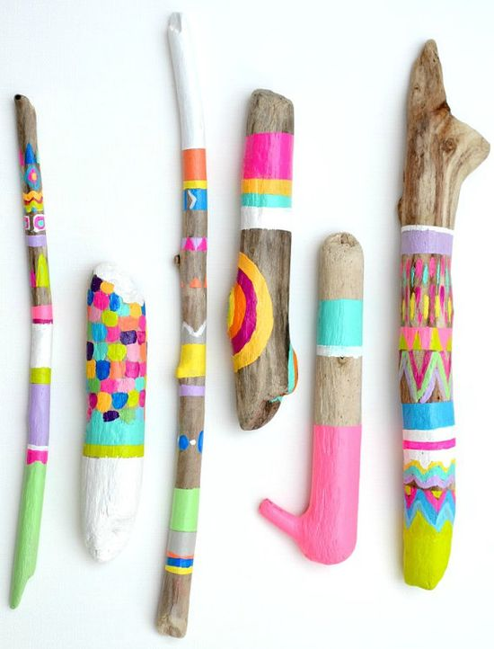 Painted Sticks  6 Piece Collection Art  Photo by bonjourfrenchie, $140.00