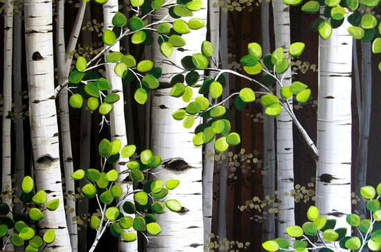 Extra Large Aspen Tree Painting  24x36 hand by MurrayDesignShop, $265.00