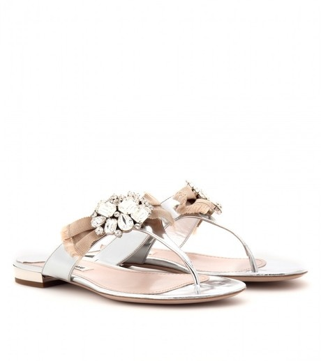 Metallic Leather Sandals with Embellished Bow