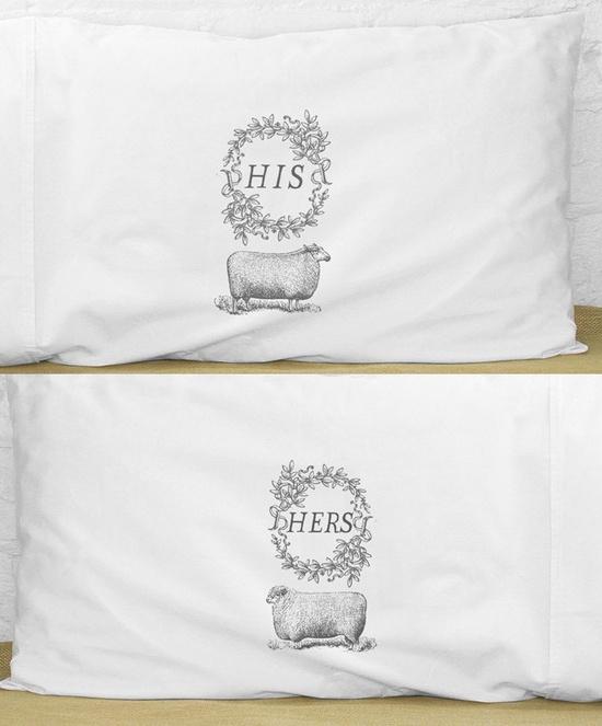 [His + Hers Sheep Pillows / kinshippress on etsy.]