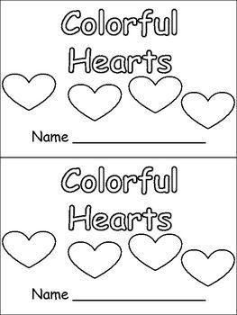 Colorful Hearts- Valentines Kindergarten book- color & number words - Melissa Williams - TeachersPayTeache...