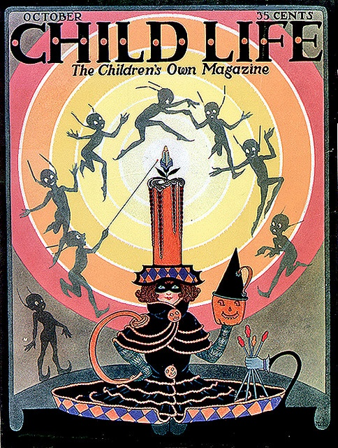 1923 Charming Candle and Imps Vintage Child Life Halloween Cover