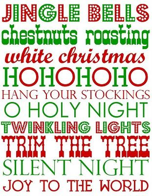 Printable Christmas words and phrases