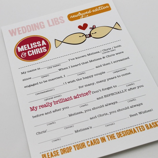 Wedding Mad Libs PDF FILE Print Yourself Kissing Fish