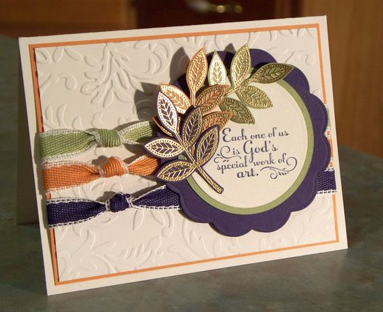 Embossed Leaves Greeting Card, Stampin Up TRUST GOD. $4.50, via Etsy.