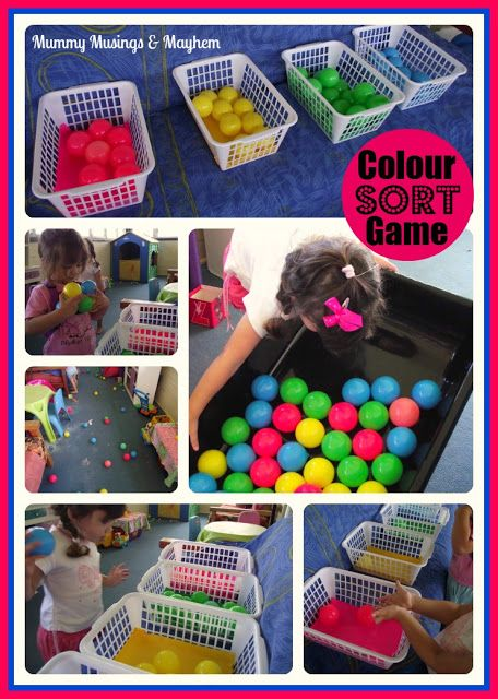 Toddler fine & gross motor colour sorting. From Mummy Musings and Mayhem.