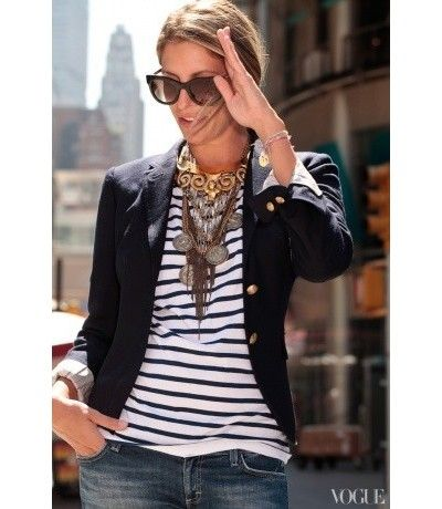 Layered Necklaces, striped top