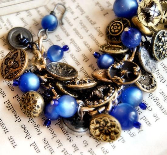 Star Antique Button Jewelry Charm Bracelet Blue Vintage Beads