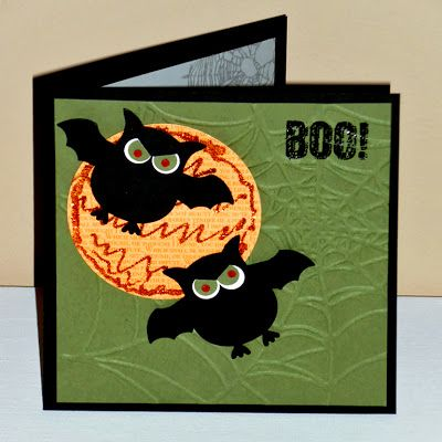 handmade Halloween card from Stampin Along With Heidi ... adorable punched owls as vampires with green eyes ...  fun look!! ...Stampin' Up!