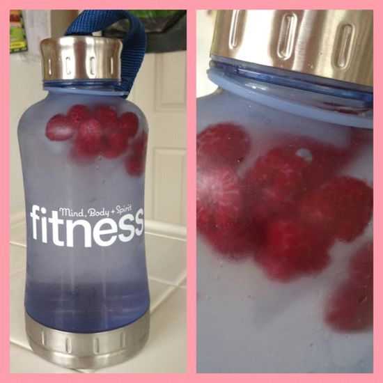 Add frozen fruit to your water bottle. It will flavor your water and keep it cool.