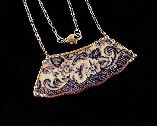 Blue Transferware Floral Toile Broken china plate necklace