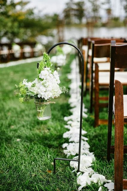 Rustic Wedding Ceremony. Ceremony Flowers.