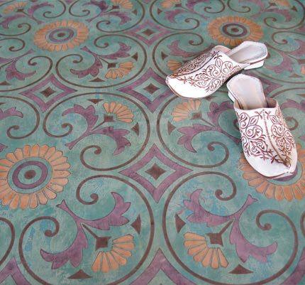 Intricate, subtle, colorful flooring design.