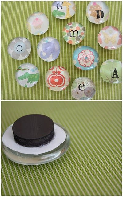 totally diy-able Way cheaper than buying magnets. Easy and inexpensive.  $5 for a bag of 100 or so peglass pebbles.  Modge Podge scrapbook paper to the back of the glass and let it dry. Glue the magnets with E6000 glue.