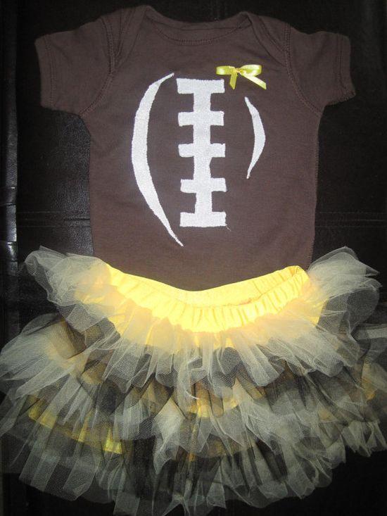 Football/Cheerleader Onesie/Tee with Tutu by lindasambroak on Etsy, $20.00