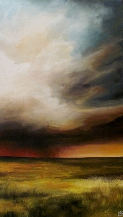 Original Painting by CES  Field Prairie Storm by PaintingsbyCES, $385.00