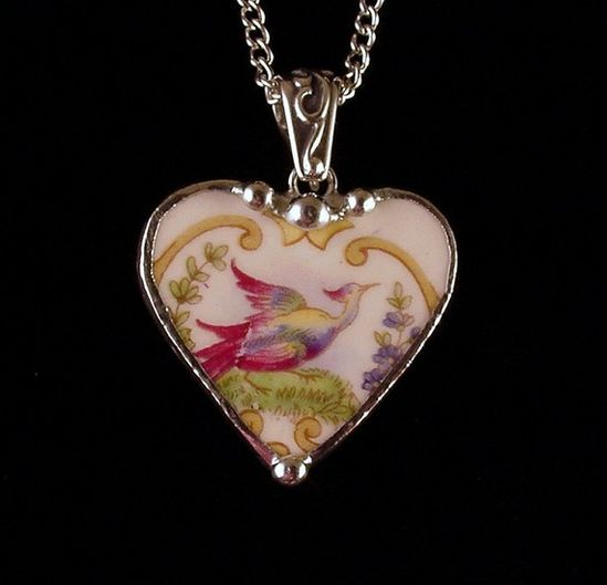 Broken china jewelry heart pendant by Dishfunctional Designs. Made from a broken plate. bird of paradise