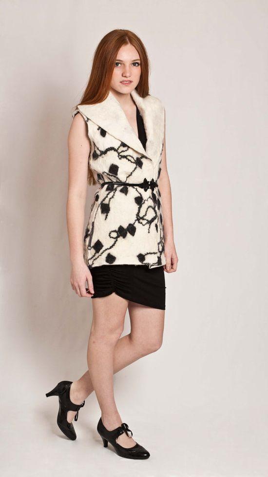Felt Vest black & white color office fashion Long by texturable, $190.00