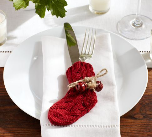 Mini stocking silverware holders! Love this place setting. Simple and elegant.