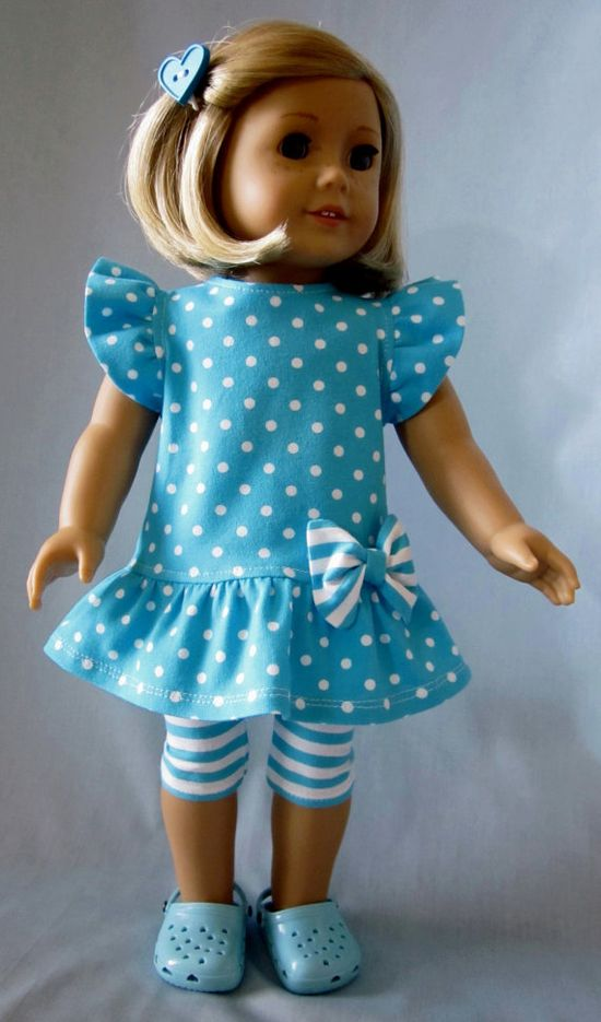American Girl Doll Clothes - Turquoise and White Knit Dress and Leggings