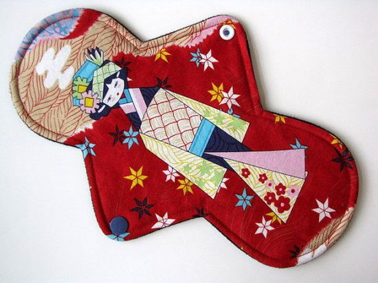 "Mama Cloth Pad Menstrual- 10"" Classic Contour Length, COTTON, Heavy Absorbency, WINDPRO Anesama Dolls Red"