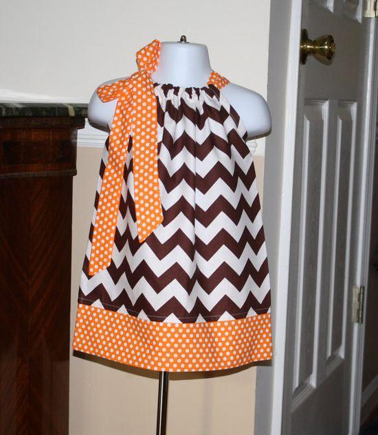 baby Girls fall chevron Pillowcase dress thanksgiving fall riley blake brown, orange, polka dot toddler girls dress on Etsy, $19.99