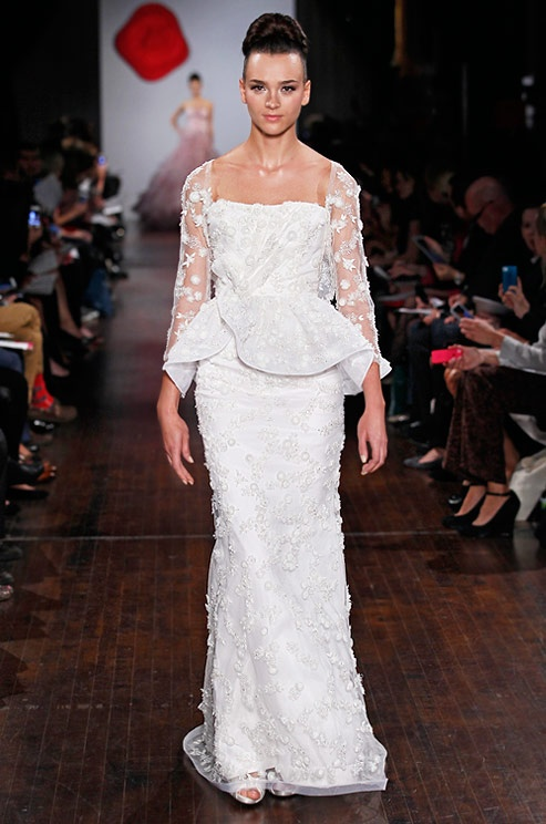 A peplum wedding dress by Austin Scarlett, Fall 2013
