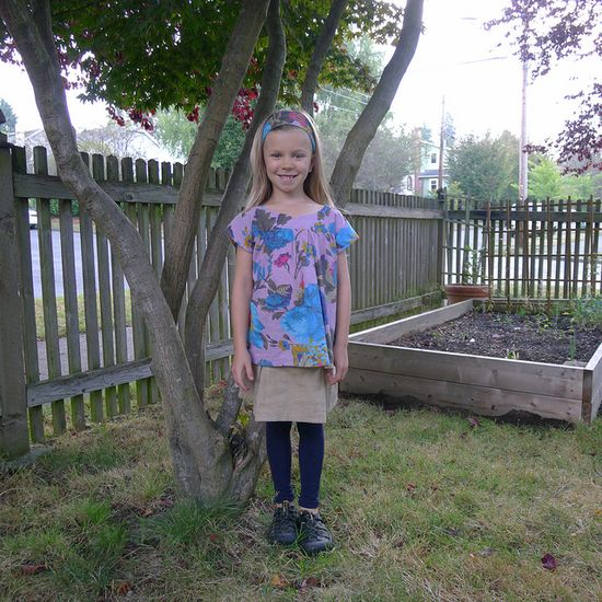 First day of 1st grade outfit. Handmade Ice cream tunic, matching headband, and simplicity skort.