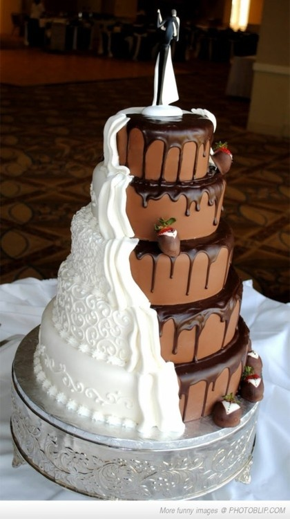 Bride's and groom's cake in one. Interesting