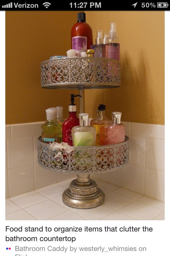 Use a cute cupcake stand to de-clutter your bathroom! #bathroom #organized