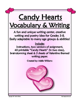 Candy Hearts Valentine's Day Vocabulary and Writing Activity