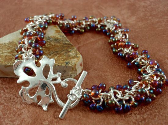 Shaggy Sterling Silver Beaded Bracelet in Autumn Hues or YOUR PICK of 20 other bead colors...everything from pinks and blue to greens, metallics, black and whtie! By unkamengifts, $140.00