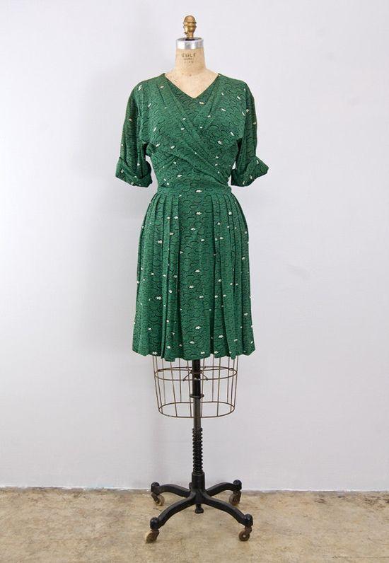 vintage 1940s dress / Pond Lilly Dress