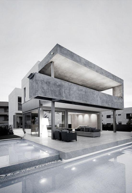 ? masculine elegance grey modern home with pool