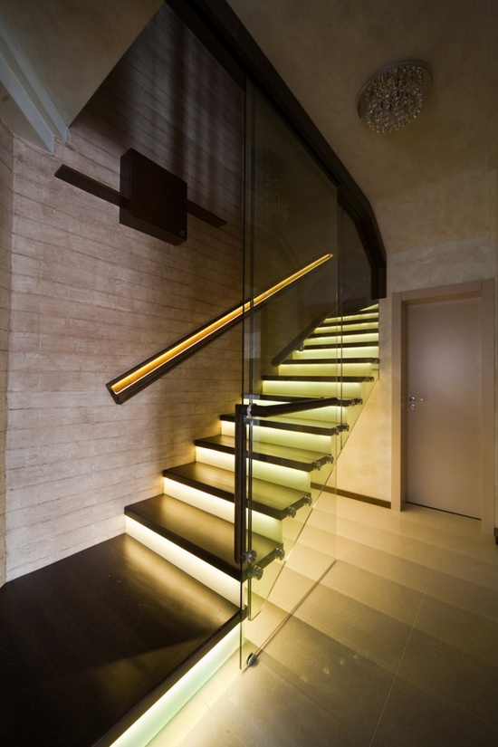Lit staircase in an apartment designed by Irena Ivanova