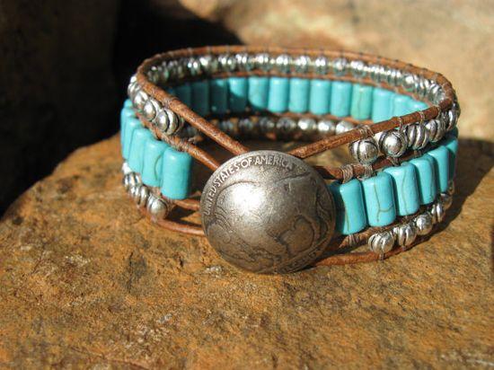 Western Turquoise Leather Cuff Bracelet by fleurdesignz.etsy...