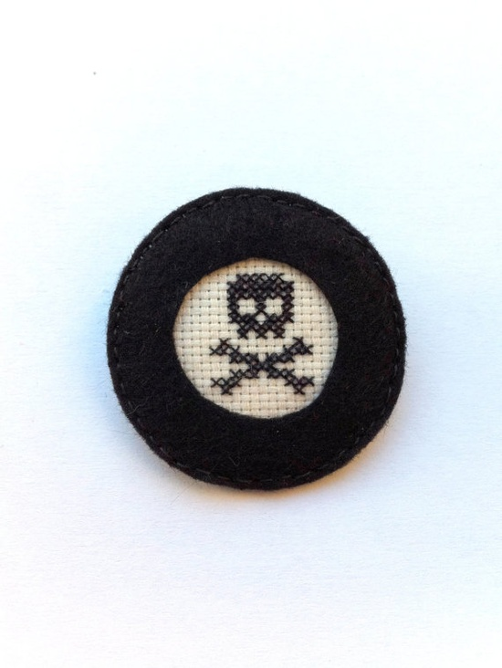 Black skull embroidery brooch by Gluckhandmade on Etsy, $8.00